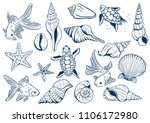 set of marine theme. sea shells.... | Shutterstock .eps vector #1106172980