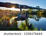 fishing reel on the rod....   Shutterstock . vector #1106176664