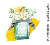 beautiful watercolor flowers ... | Shutterstock . vector #1106181263