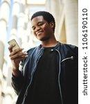 portrait of happy african... | Shutterstock . vector #1106190110