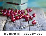 heap of fresh picked cherries... | Shutterstock . vector #1106194916
