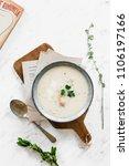 white asparagous cream soup on... | Shutterstock . vector #1106197166