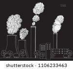 white smokestack on black...   Shutterstock .eps vector #1106233463