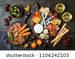 appetizers table with italian... | Shutterstock . vector #1106242103