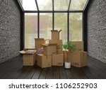 interior with packed cardboard... | Shutterstock . vector #1106252903
