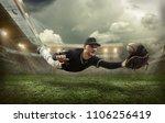 baseball player in dynamic... | Shutterstock . vector #1106256419