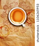 hand drawn doodles on a coffee... | Shutterstock . vector #1106265953
