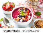 smoothie bowl from fresh... | Shutterstock . vector #1106269649