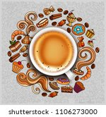 hand drawn doodles on a coffee... | Shutterstock . vector #1106273000