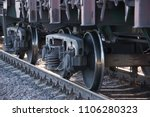 wheels of a railway train on... | Shutterstock . vector #1106280323