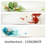 retro romantic floral banners | Shutterstock .eps vector #110628659