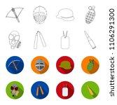 gas mask  nunchak  ammunition ... | Shutterstock .eps vector #1106291300