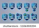 vector blue shield shaped two...   Shutterstock .eps vector #1106303204