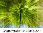 Small photo of Abstract green background of tree in countryside outdoors. Zoom speed blured motion. Created by zooming out.