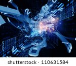 Arrangement of bursting numerical forms on the subject of modern computing, virtual reality and information processing - stock photo