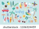 surfing set in cute cartoon... | Shutterstock .eps vector #1106324459