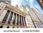 Exterior of New york Stock Exchange, largest stock exchange in world by market capitalization and most powerful global financial institute. Wall street, lower Manhattan, New York City, USA. - stock photo