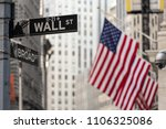 wall street sign in new york... | Shutterstock . vector #1106325086