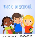 three cute student back to... | Shutterstock .eps vector #1106340398