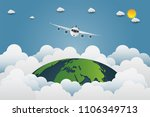 plane is flying through the... | Shutterstock .eps vector #1106349713