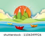 summer concept with island ... | Shutterstock .eps vector #1106349926