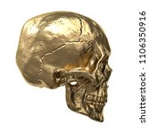 gold human skull  isolated on... | Shutterstock . vector #1106350916
