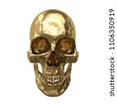 gold human skull  isolated on... | Shutterstock . vector #1106350919