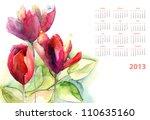 Watercolor Calendar With Green...