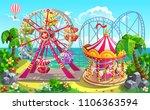 amusement park on tropical... | Shutterstock .eps vector #1106363594