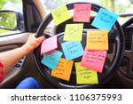 steering wheel covered in notes ...   Shutterstock . vector #1106375993