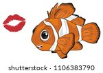 orange clown fish and red kiss | Shutterstock . vector #1106383790