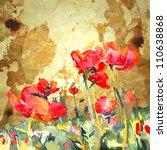 original watercolor poppy... | Shutterstock .eps vector #110638868