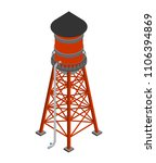 Water Tower Isometric Isolated. ...