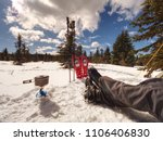 camping in winter forest ... | Shutterstock . vector #1106406830
