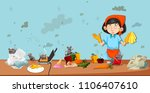 dirty kitchen scene with...   Shutterstock .eps vector #1106407610