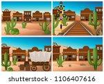 set of wild west town... | Shutterstock .eps vector #1106407616