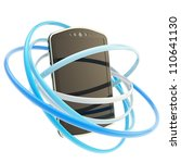 Smart mobile phone concept surrounded with blue glossy rings isolated on white - stock photo