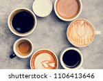 aerial view of various coffee   Shutterstock . vector #1106413646