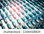 blue and white capsules pill in ...   Shutterstock . vector #1106418824