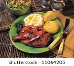 Barbecue chicken dinner - stock photo