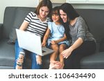 vacation of happy family in... | Shutterstock . vector #1106434490