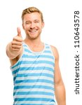 Happy man giving thumbs up sign - portrait on white background - stock photo