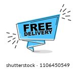 blue flat line banner free...   Shutterstock .eps vector #1106450549