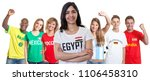 Soccer supporter from Egypt with fans from other countries on isolated white background for cut out - Translation: Brazil, Mexico, Russia, Egypt, Germany, Spain