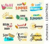summer lettering pop art set...   Shutterstock .eps vector #1106479616