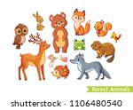 vector set with forest animals...   Shutterstock .eps vector #1106480540