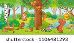 Stock vector vector illustration with cute forest animals in a children s style a set of mammals in the forest 1106481293