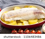 fish cod baked in the oven with ... | Shutterstock . vector #1106483486