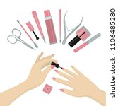 elegant hands of a woman doing... | Shutterstock .eps vector #1106485280