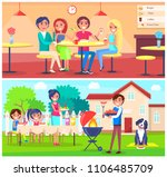 friends eating pizza in cafe... | Shutterstock .eps vector #1106485709